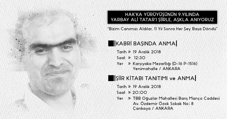 Yb. Ali TATAR'ı ölümünün 9. yılında sevgi ve özlemle anıyoruz.