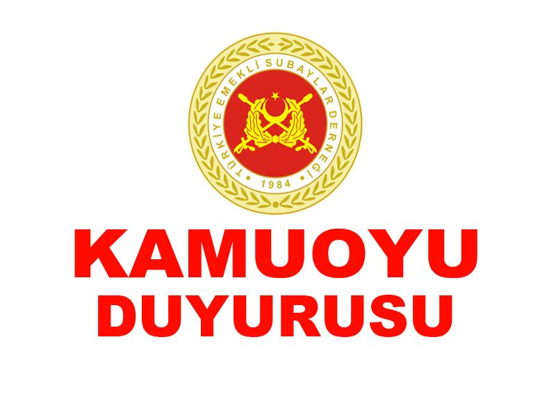 KAMUOYU DUYURUSU (ORDU YARDIMLAŞMA KURUMU HK.)