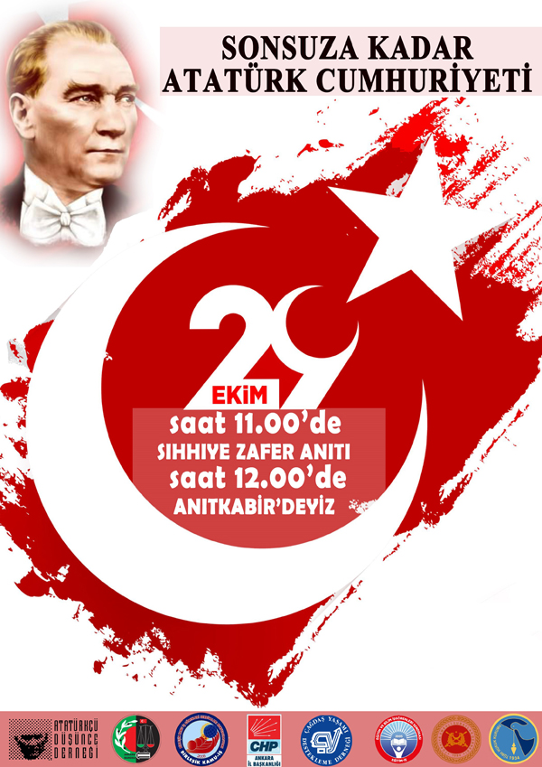 Cumhuriyetimizin 97'nci Yılında Ankara'da sekiz Sivil Toplum Örgütü ile birlikte Sıhhiye Zafer Anıtından  ATA'mıza yürüyoruz.