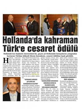 Hollanda'da Kahraman Türk'e Cesaret Ödülü